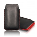 LEATHER CASE FORCELL - SLIM DELUXE - NOK 500/5230/ 5800 BLACK/RED
