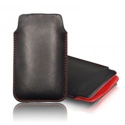 LEATHER CASE FORCELL - SLIM DELUXE - NOK E52/E51 BLACK/RED
