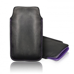 LEATHER CASE FORCELL - SLIM DELUXE - NOK 500 BLACK/ VIOLET