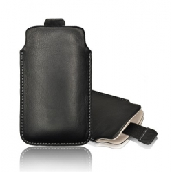 LEATHER CASE FORCELL - SLIM DELUXE - SAM I9300 GALAXY S3/SENSATION XL/HTC ONE X PULL UP BLACK WHITE